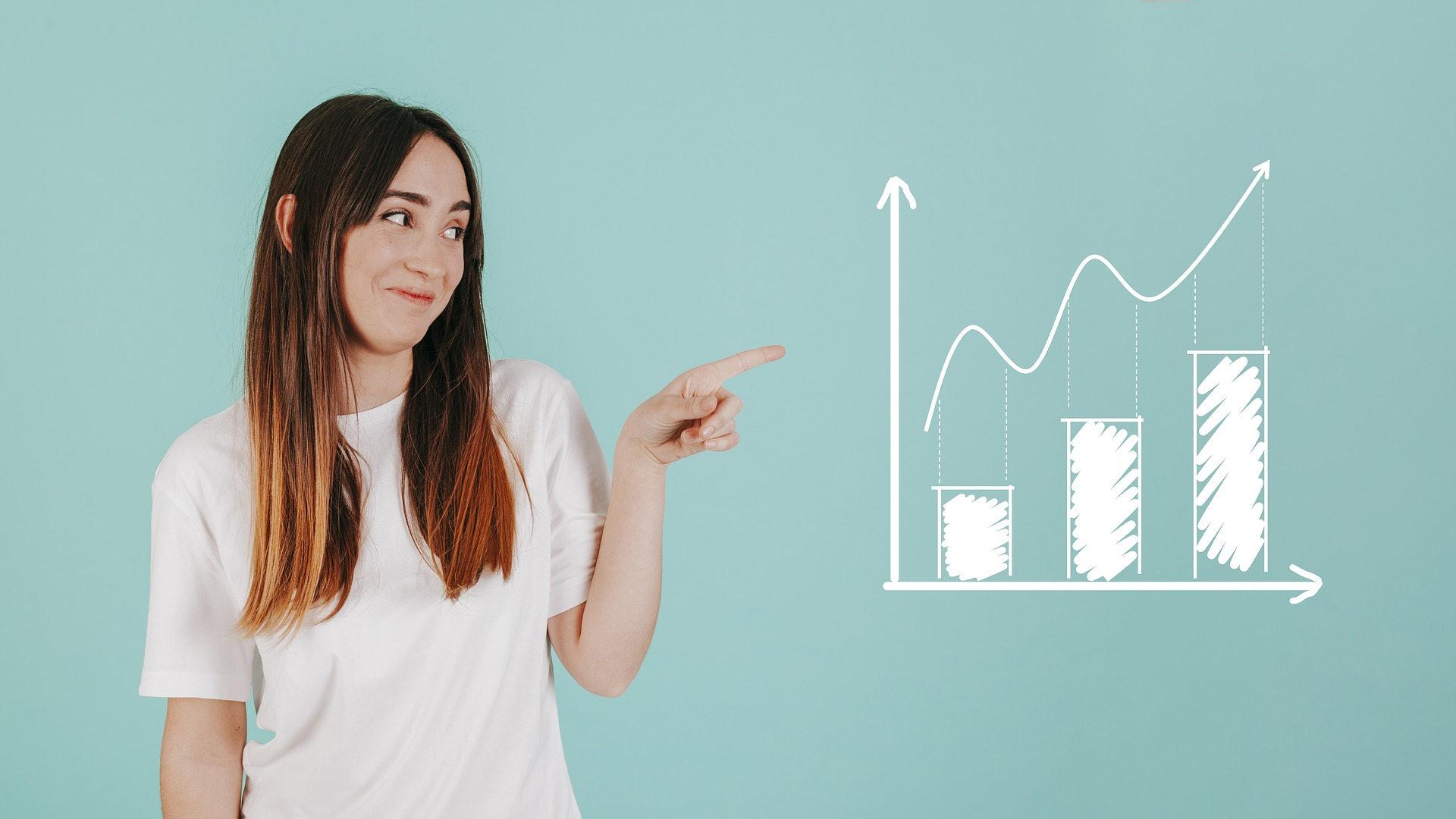 Djevojka prstom pokazuje prema grafikonu uspjeha