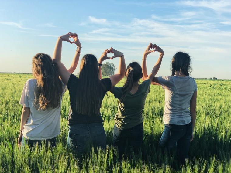 Djevojke na poljani gledaju u daljinu