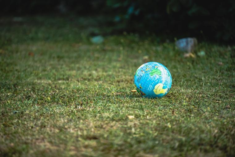 Globus na zelenoj livadi